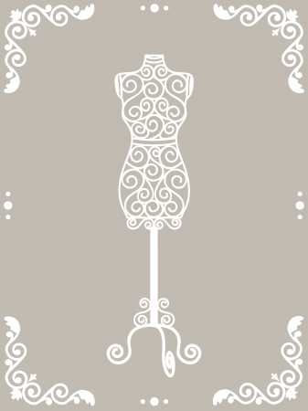 Vintage wrought iron mannequin in floral frame Vector