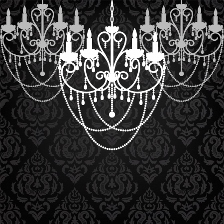 antique chandelier light in the room with vintage wallpaper Stock Vector - 19907716