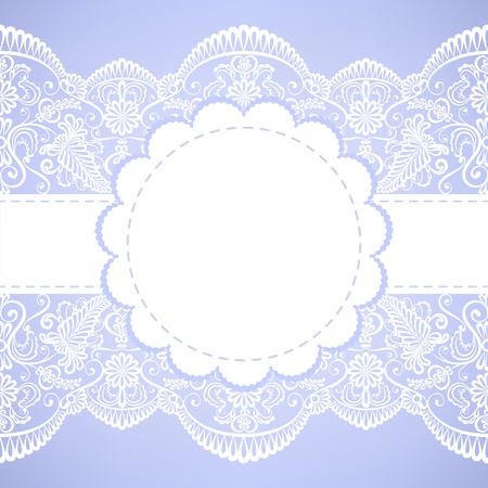 Wedding invitation or greeting card with lace border Vector