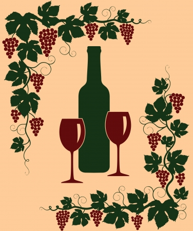 Background with a bunch of grapes, bottle and glass Vector