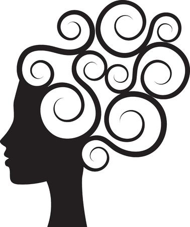 taglio capelli: Siluetta della donna Vettoriali
