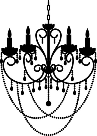 chandelier isolated: Black silhouette of chandelier with beads Illustration