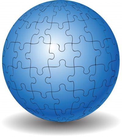 Blue puzzle ball isolated on white Stock Vector - 20052204