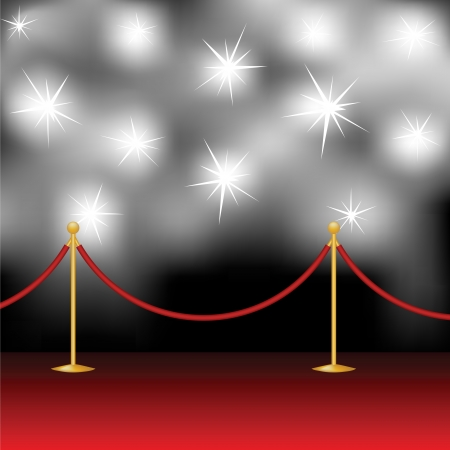 flash light:  Red carpet and paparazzi Illustration