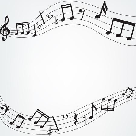Achtergrond met muziek noten grens Stock Illustratie
