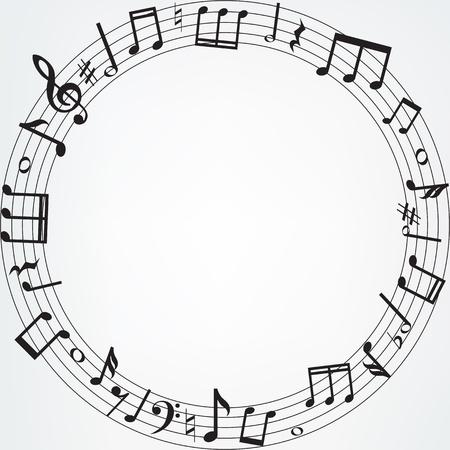 clef de fa: Arri�re-plan avec des notes de musique fronti�re