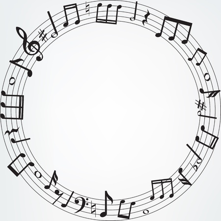 musical note: Background with music notes border