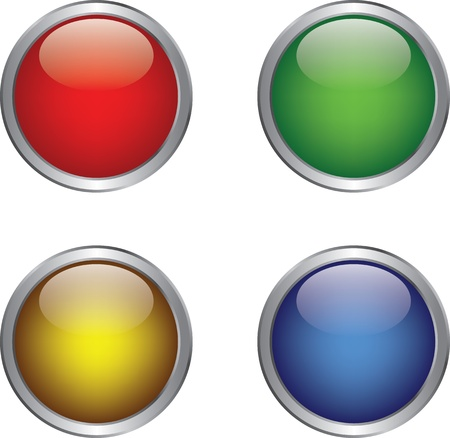 button icons: Colorful shiny button in metallic frame