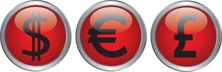 currency icon on circle glossy red button Stock Vector - 20020350