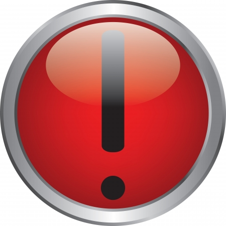 Exclamation danger sign on red circle button Stock Vector - 20020334