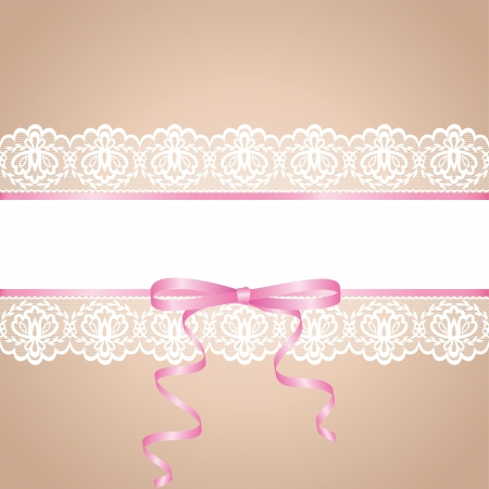 garter: Garter of bride  Template for wedding, invitation or greeting card with lace background and pink ribbon