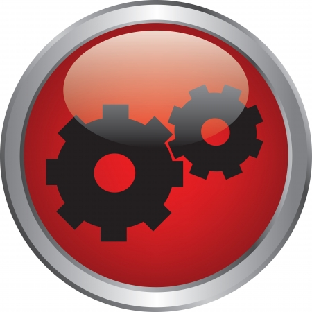 gears icon oh red button Stock Vector - 20020339