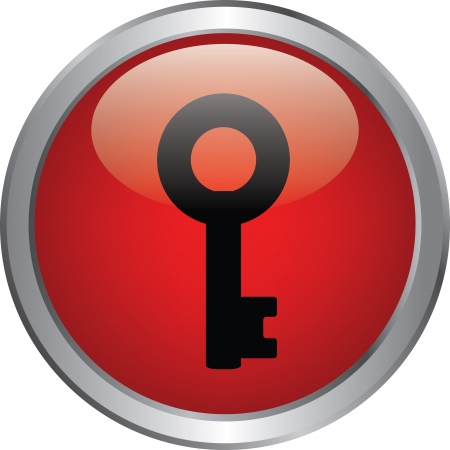 key icon on red circle button Stock Vector - 20020335