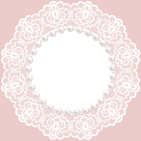 doily: Vintage card with lace doily and pearls