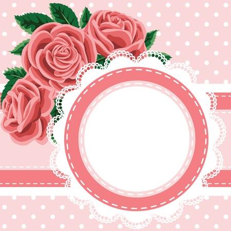 invitaci�n matrimonio: Invitaci?n, tarjeta de felicitaci?n con encajes y rosas Vectores