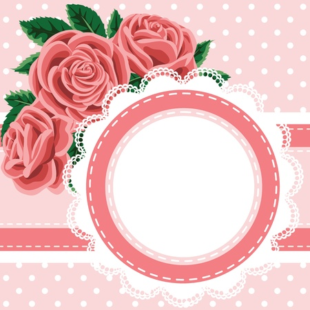 Invitation, greeting card with lace and roses Vector