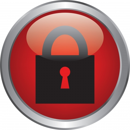 Closed lock icon on red circle button Stock Vector - 20020333