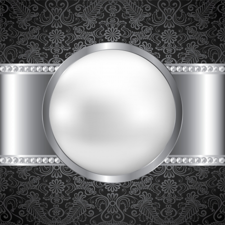 Background with perl and silver frame Stock Vector - 20020287