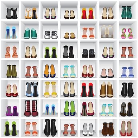 mensole: Sfondo senza soluzione di continuit� con le scarpe sugli scaffali di negozio o spogliatoio Vettoriali