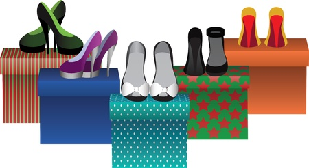 Box with woman shoes in store isolated on white Vector