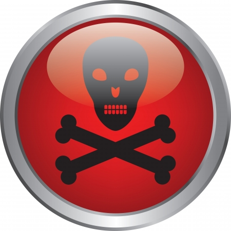 Skull and crossbones icon on red circle button Stock Vector - 20020338