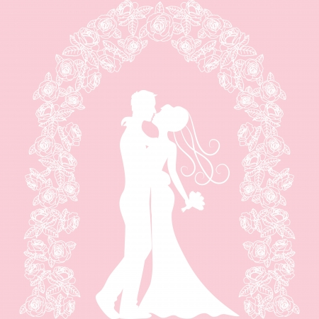 arbor: Template for wedding, invitation or greeting card with roses arch Illustration