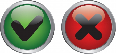 Green right and red wrong circle button Stock Vector - 20020348