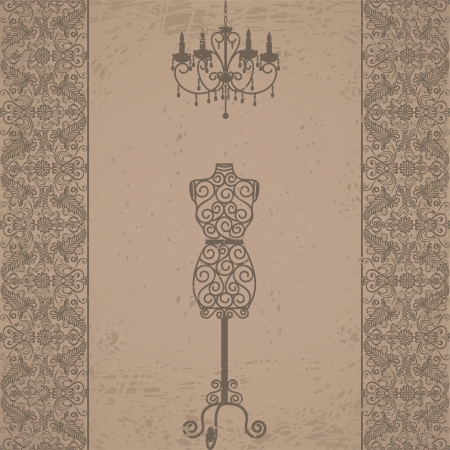 boutique display: Vintage grunge card with mannequin and chandelier with lace border