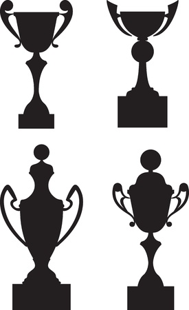 awards ceremony: Trophy cup awards black silhouette set
