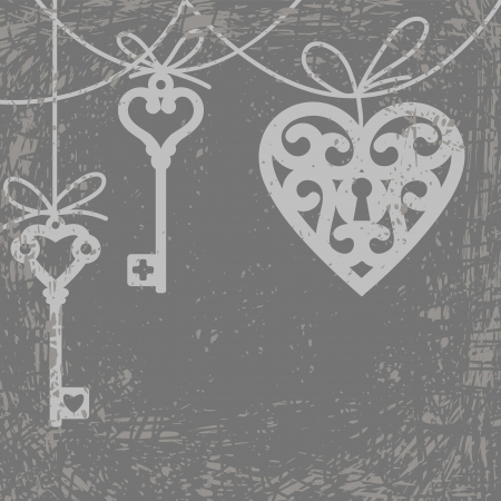 Vintage grunge card with hanging lock shaped heart and skeleton key
