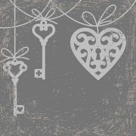 old keys: Vintage grunge card with hanging lock shaped heart and skeleton key