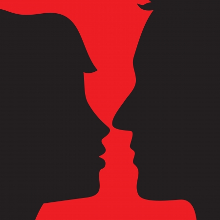 Silhouette of lovers on red background Stock Vector - 20360518