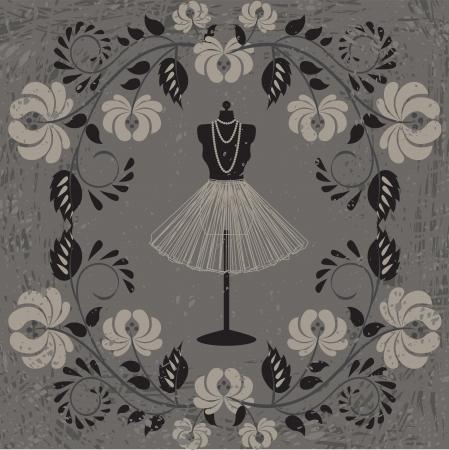 dress form: Vintage card with mannequin and floral pattern on grunge background Illustration