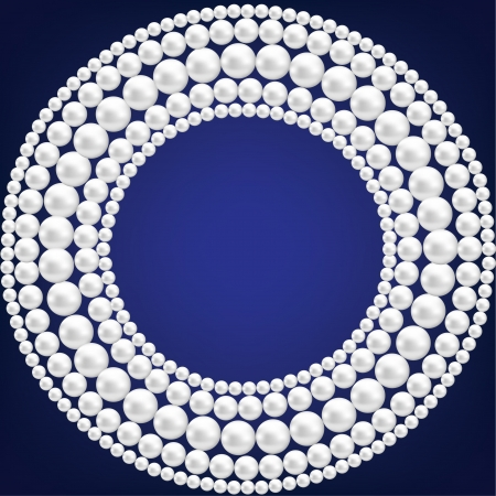 pearl necklace: Dark blue background with pearl necklace  Illustration