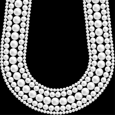 pearl necklace: Black background with pearl necklace