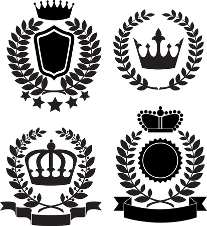 lable: Black silhouettes of award lable with crown, laurel wreath and ribbon