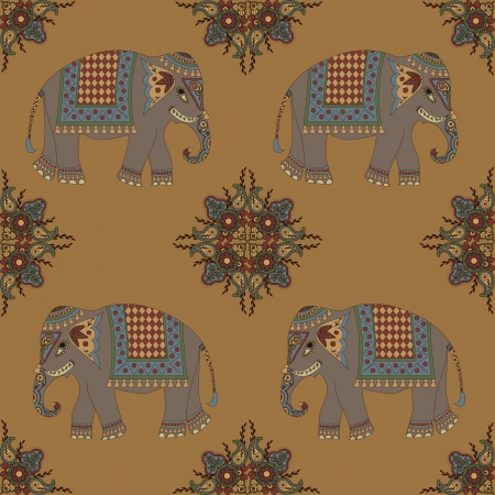 indian elephant: Seamless indian pattern with elephant