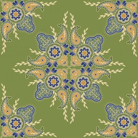 ethno: Ethnic seamless indian floral pattern  Striped background with flowers