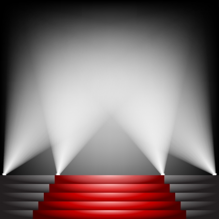 red carpet background: Red carpet and stairs with spotlight up