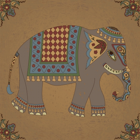 etnia: Fondo de la vendimia con el elefante indio y el patrón floral Vectores