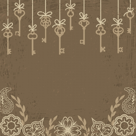 passkey: Vintage card with hanging antique skeleton keys and floral decoration