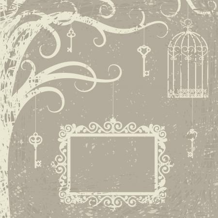 birds in tree: Carta d'epoca con gabbia, chiavi e telaio sul ramo di un albero Vettoriali