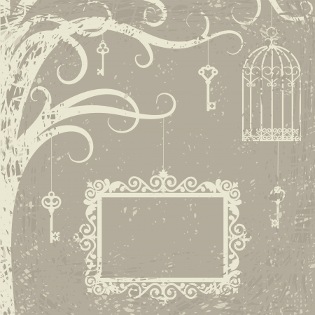 bird cage: Vintage card with cage, keys and frame on tree branch  Illustration
