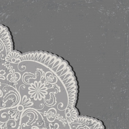 Greeting, invitation card with lace and floral ornaments on grunge background Vector