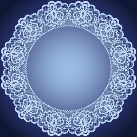 lace frame: Wedding invitation or greeting card with lace and napkin  Illustration