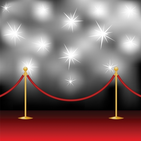 red carpet event: Red carpet, stanchion and paparazzi