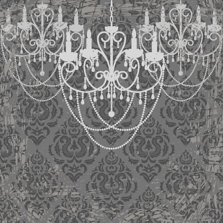Grunge background with vintage chandeliers Vector