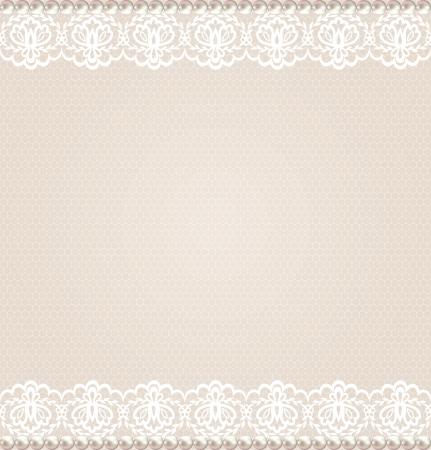 Boda, invitación o tarjeta de felicitación con la frontera floral de encaje en el fondo neto Foto de archivo - 20459612