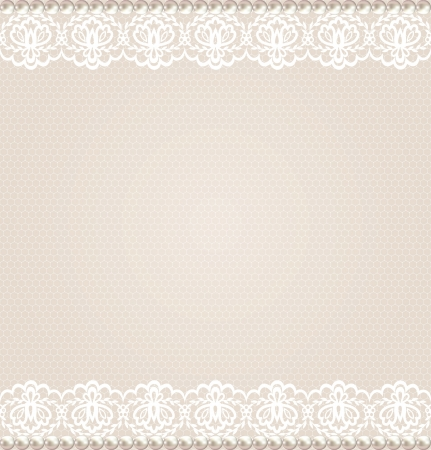 Wedding, invitation or greeting card with lace floral border on net background Vector