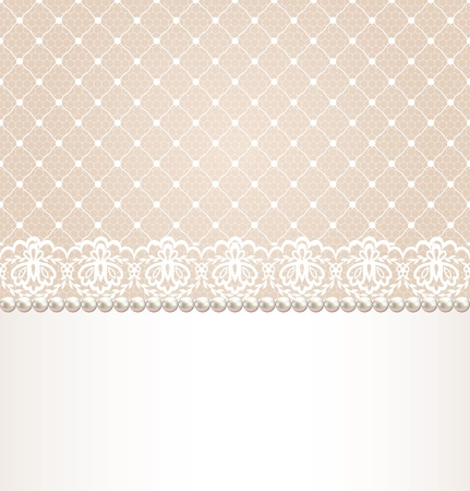 pearls: Wedding, invitation or greeting card with lace floral border on net background